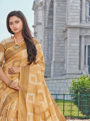Yellow Handloom Cotton Printed Classic Saree