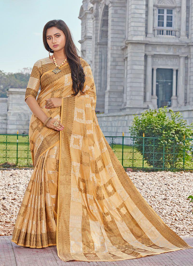 Yellow Handloom Cotton Printed Classic Saree