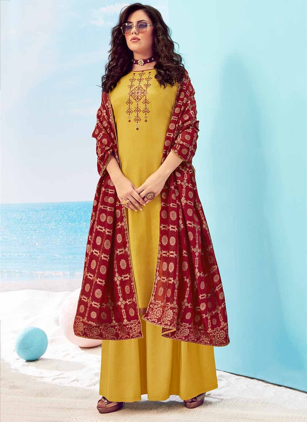 Yellow Handwork Party Designer Palazzo Salwar Kameez