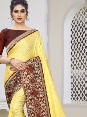 Yellow Jacquard Silk Designer Traditional Saree