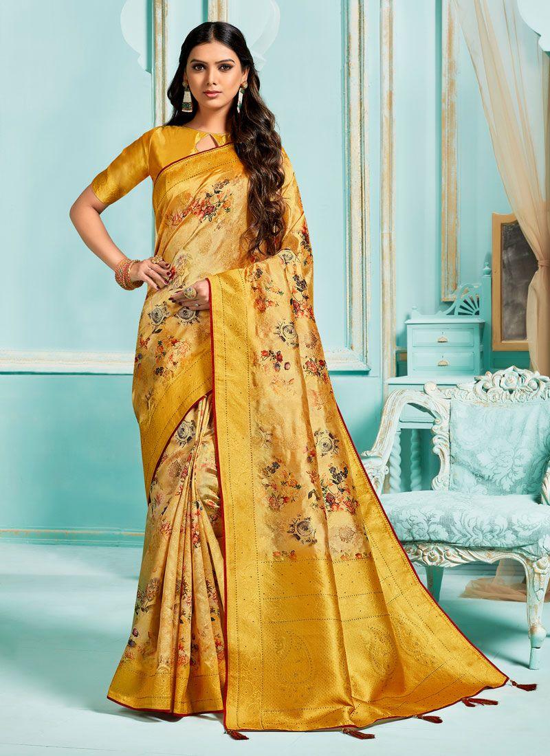 Yellow Jacquard Silk Digital Print Designer Saree