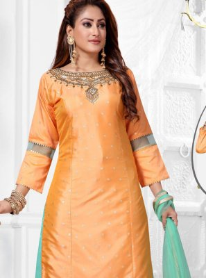 Yellow Jacquard Silk Salwar Suit