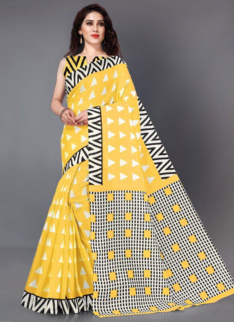 Yellow Khadi Silk Classic Saree