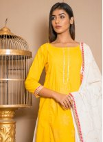 Yellow Lace Cotton Salwar Suit