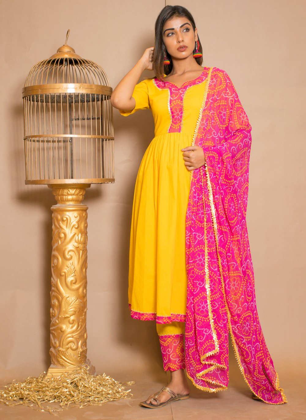 Yellow Lace Party Anarkali Salwar Kameez