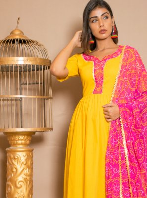 Yellow Lace Party Anarkali Salwar Kameez