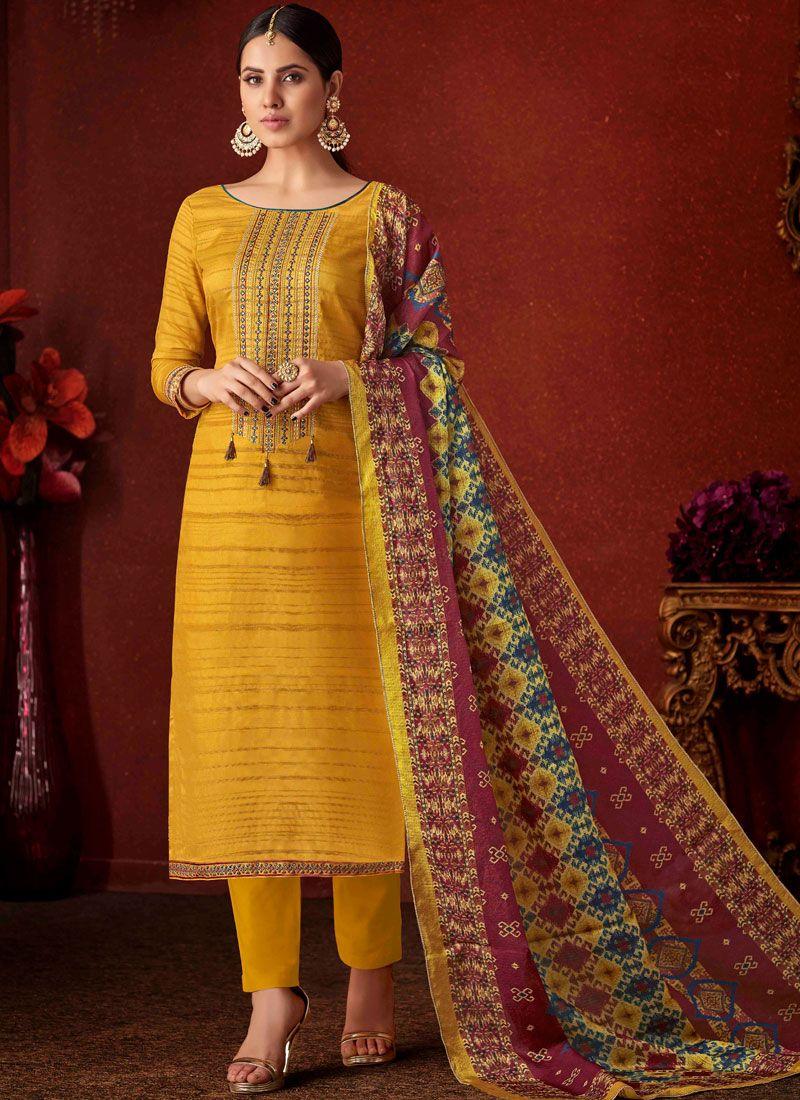 Yellow Mehndi Pant Style Suit