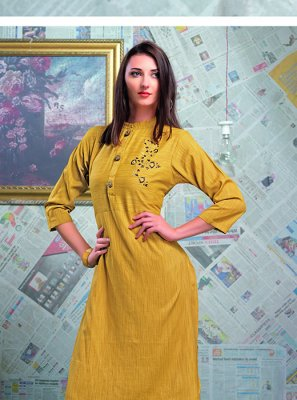 Yellow Mehndi Party Wear Kurti