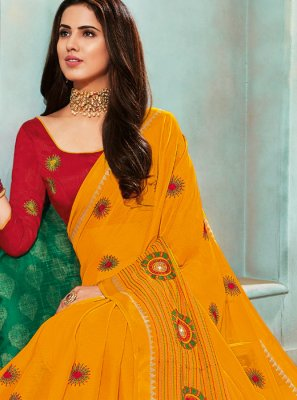 Yellow Mehndi Trendy Saree