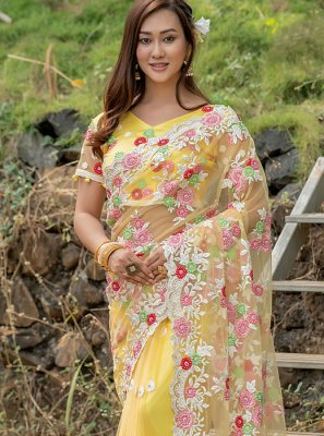 Yellow Net Embroidered Trendy Saree