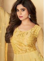 Yellow Net Wedding Anarkali Salwar Kameez
