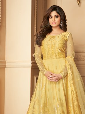 Yellow Net Wedding Anarkali Salwar Kameez