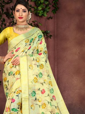 Yellow Party Casual Saree