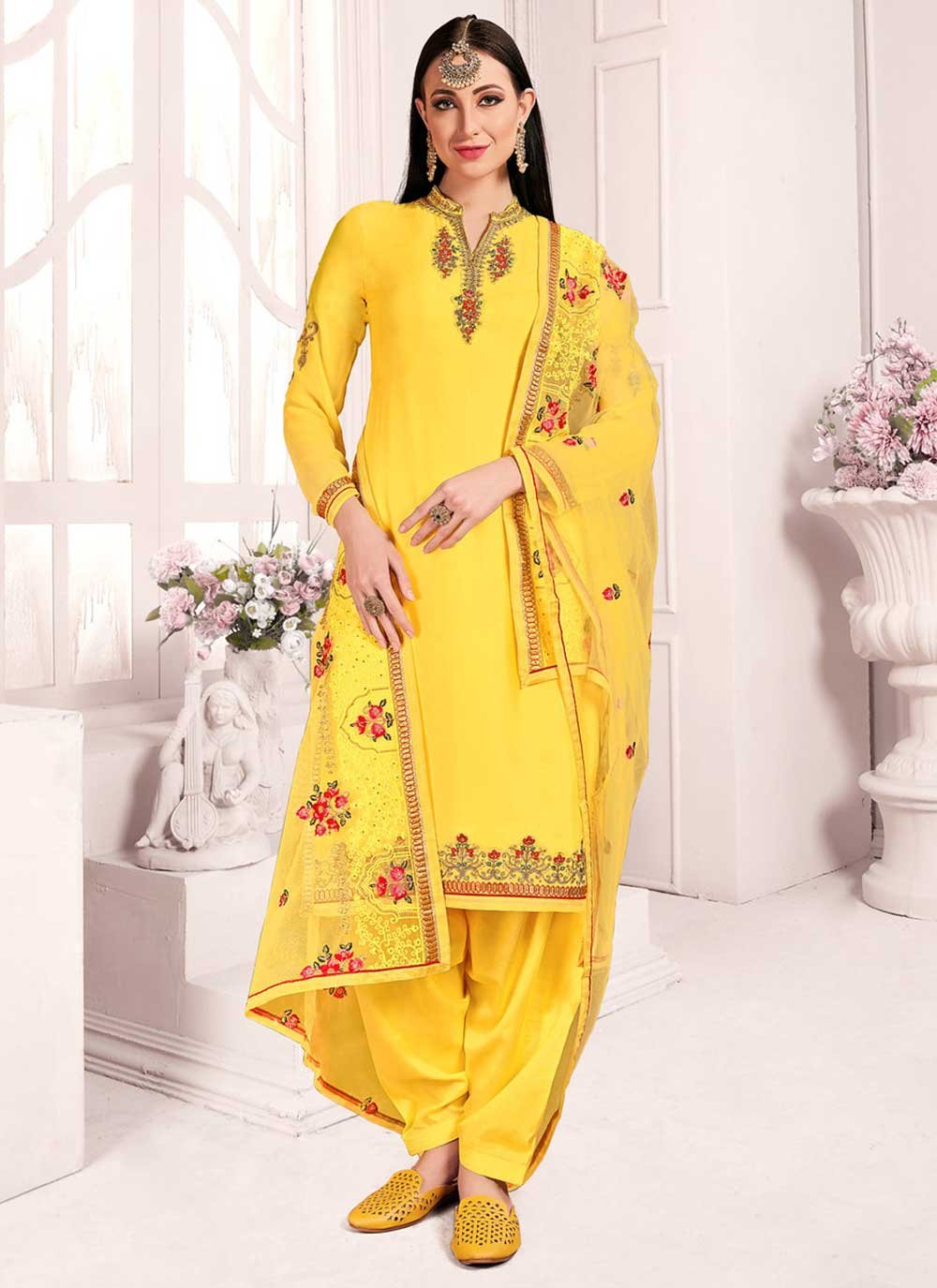 Yellow Party Georgette Designer Patiala Suit