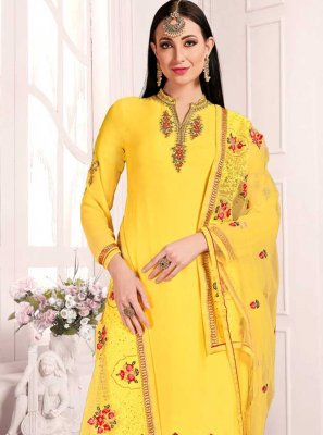 Yellow Party Georgette Designer Patiala Suit
