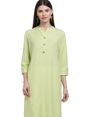 Yellow Party Rayon Casual Kurti