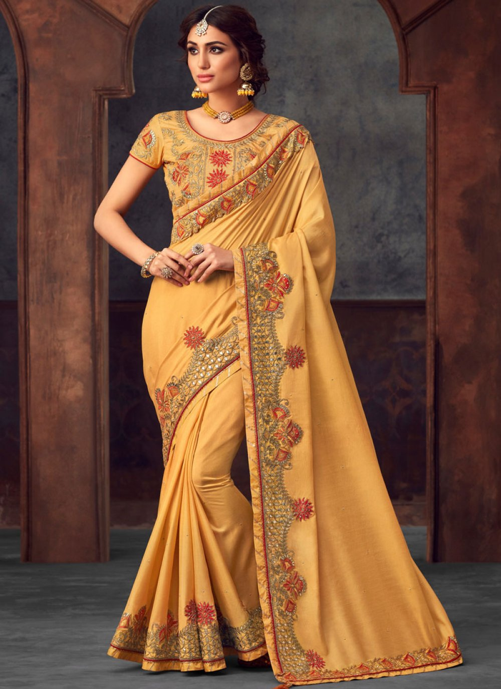 Yellow Party Silk Saree