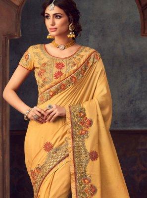 Yellow Party Silk Saree