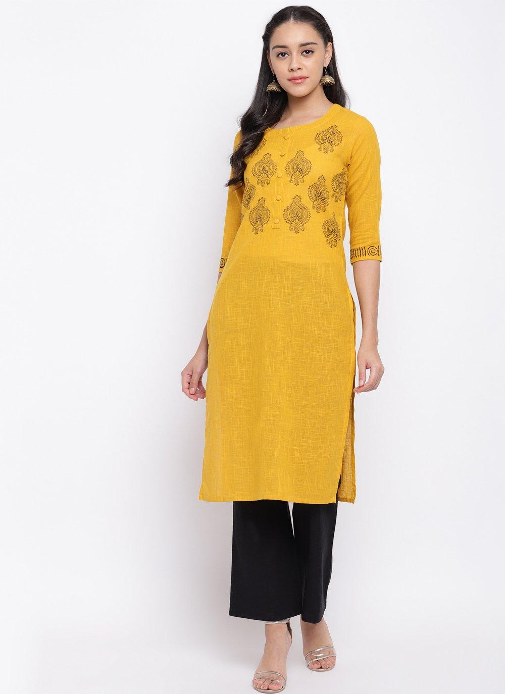 Yellow Party Wear Kurti