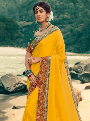 Yellow Patch Border Ceremonial Contemporary Saree