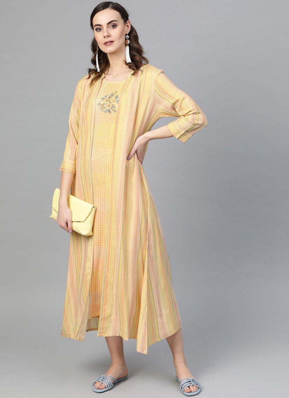 Yellow Plain Mehndi Designer Kurti