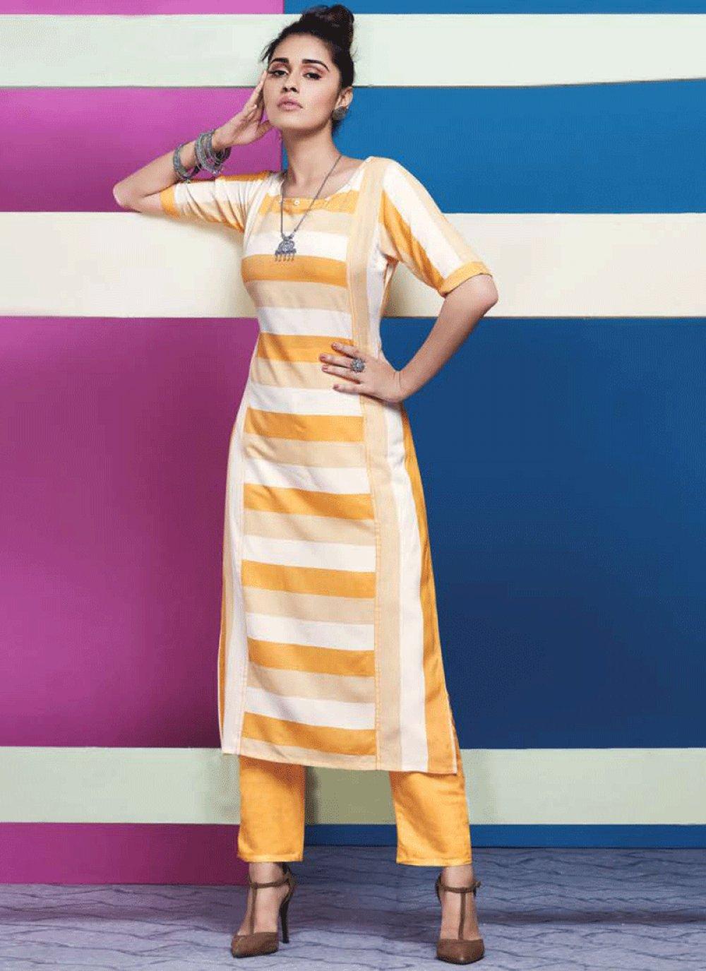 Yellow Plain Party Wear Kurti