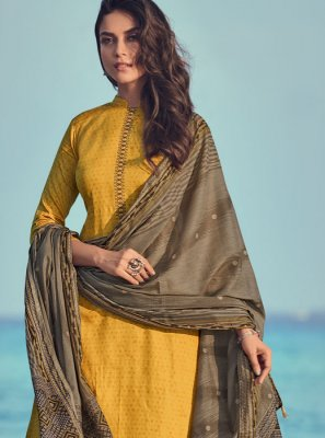 Yellow Print Cotton Salwar Kameez
