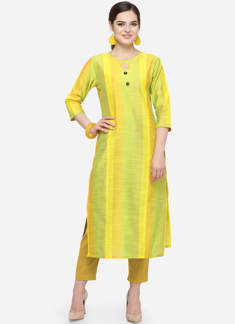 Yellow Printed Art Silk Cotton Party Wear Kurti