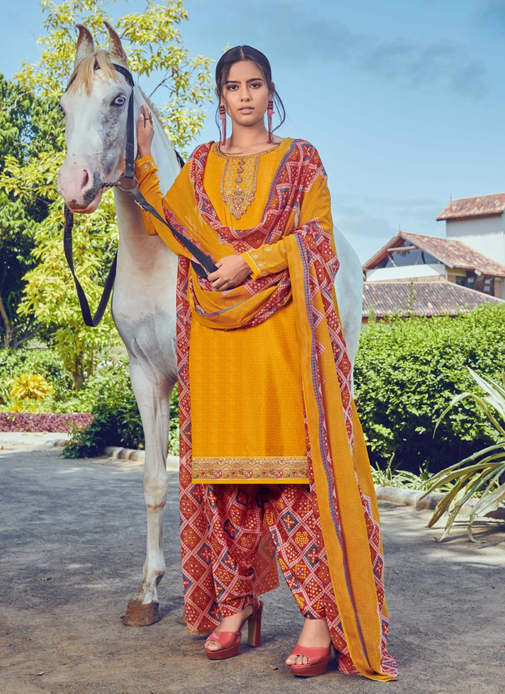 Yellow Printed Bollywood Salwar Kameez