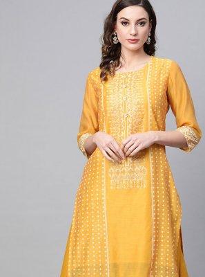 Yellow Printed Casual Designer Kurti