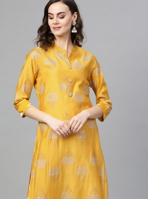Yellow Printed Casual Kurti