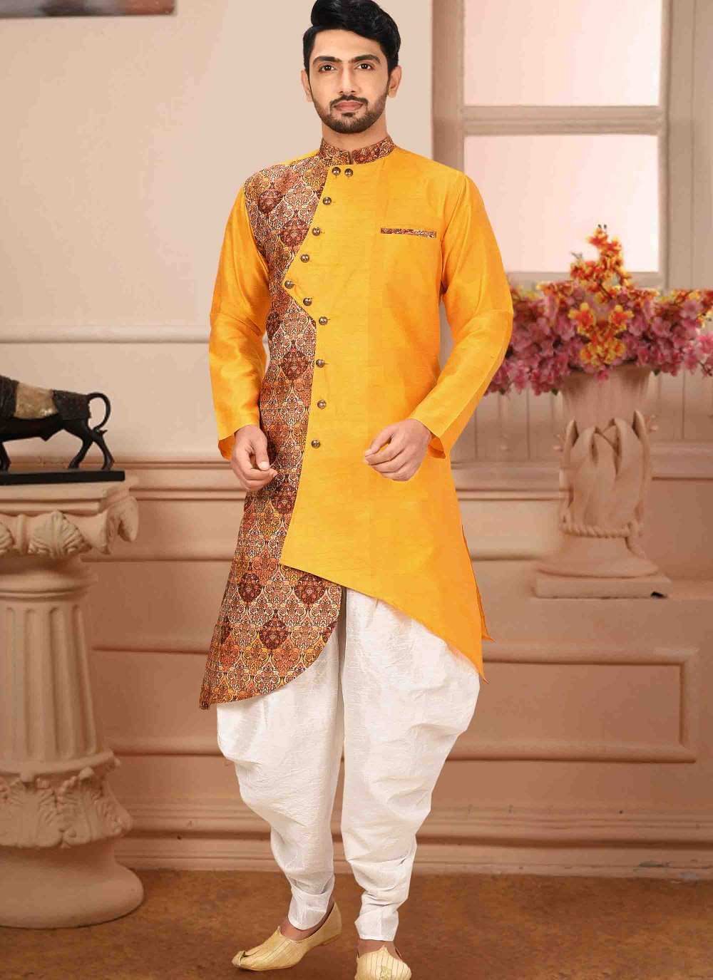 Yellow Printed Ceremonial Kurta Pyjama