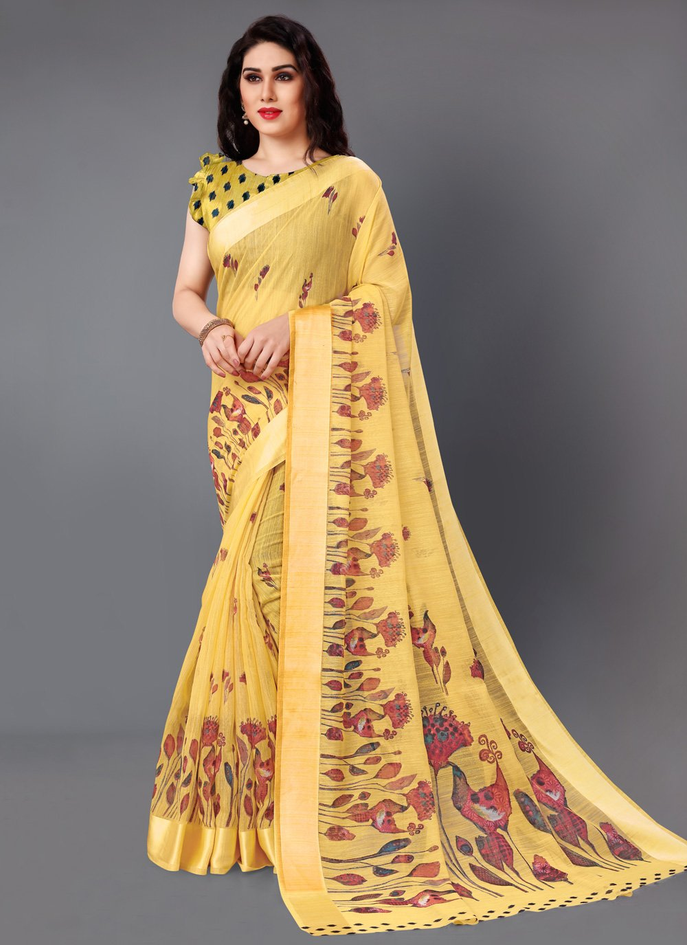 Yellow Printed Classic Saree