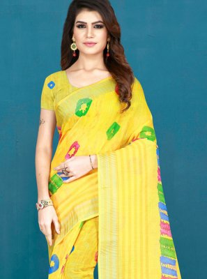 Yellow Printed Cotton Printed Saree
