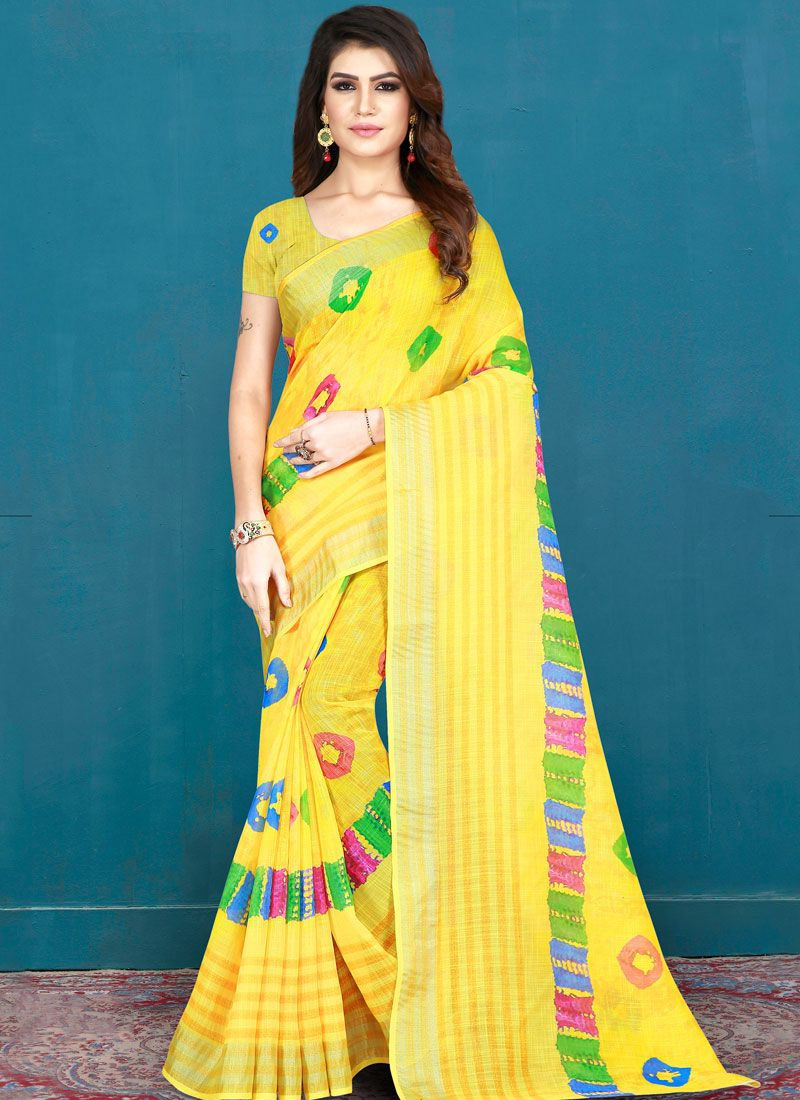Yellow Printed Cotton Printed Saree
