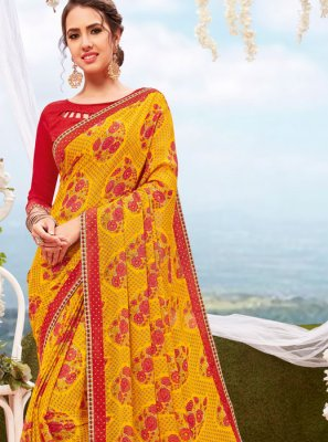 Yellow Printed Georgette Printed Saree