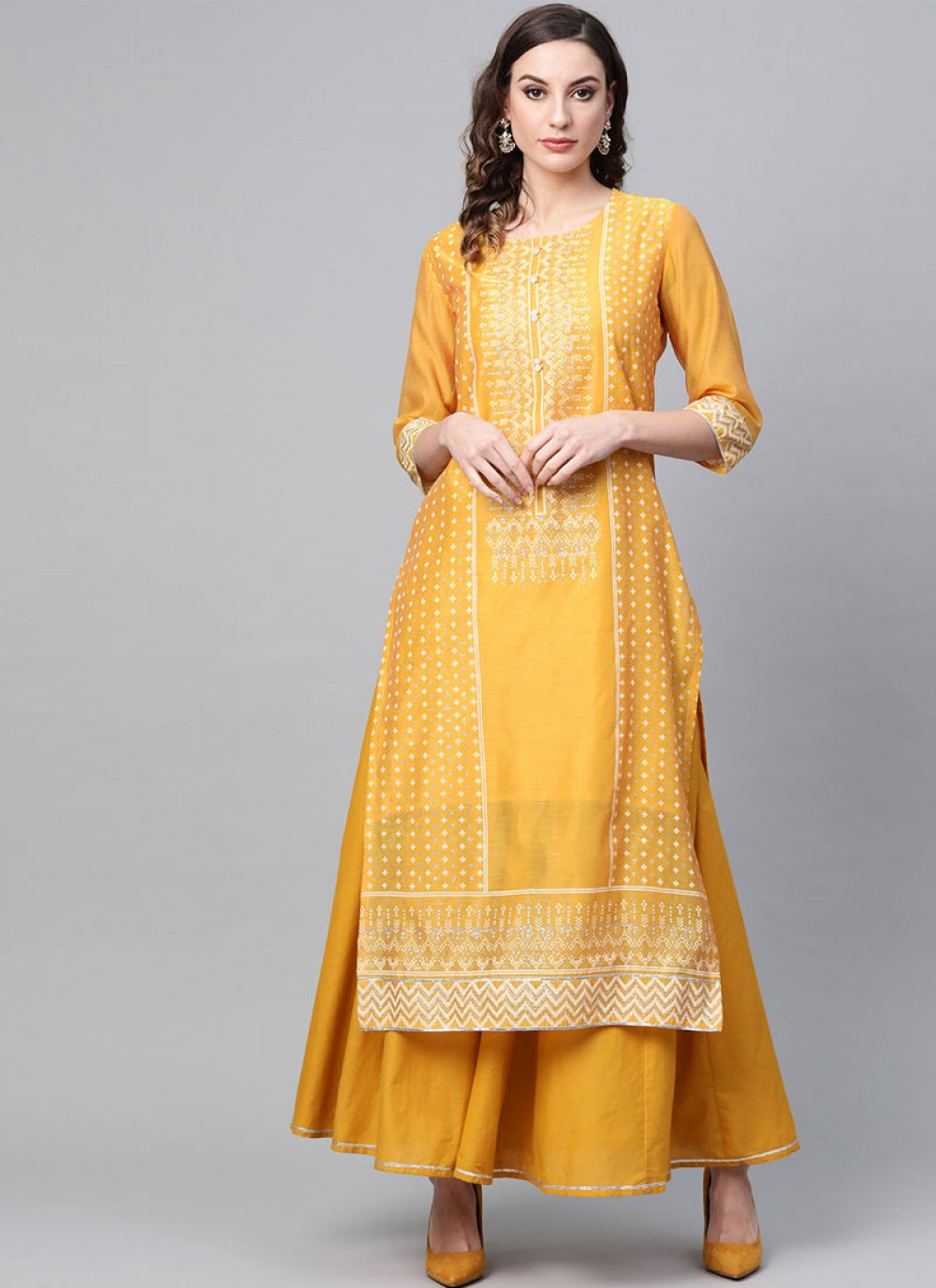 Yellow Printed Party Wear Kurti