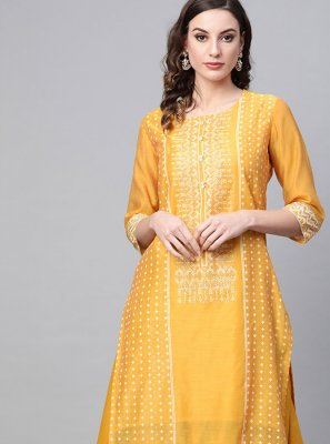 Yellow Printed Party Wear Kurti