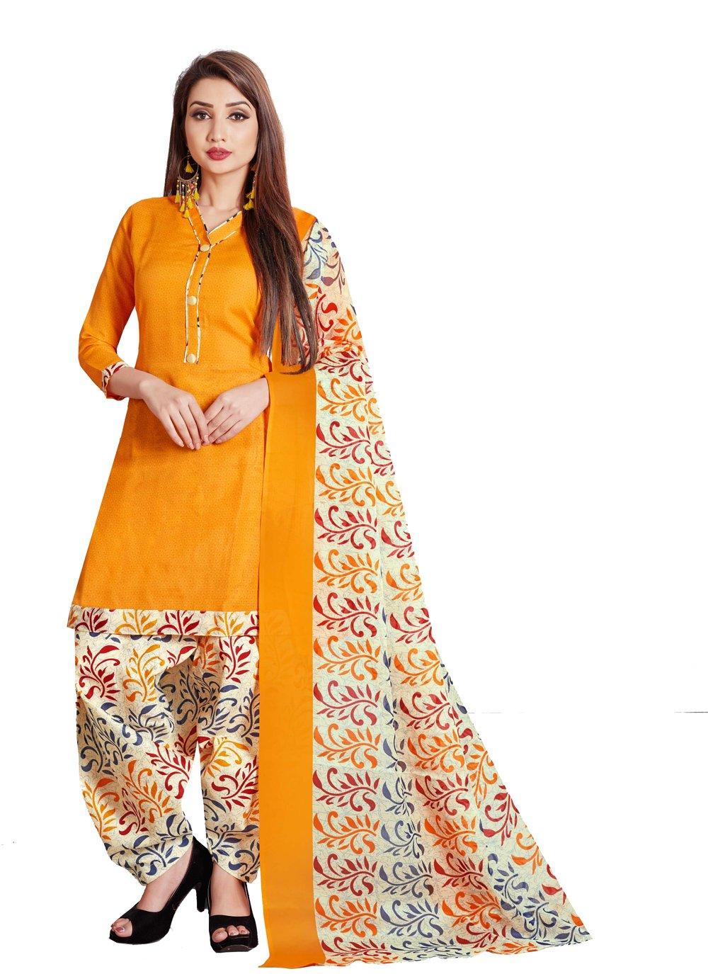 Yellow Printed Punjabi Suit
