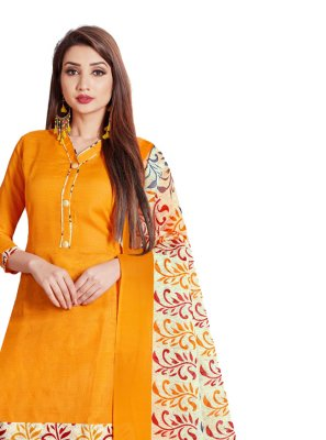 Yellow Printed Punjabi Suit