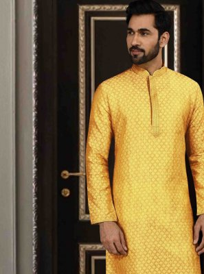 Yellow Printed Reception Kurta Pyjama