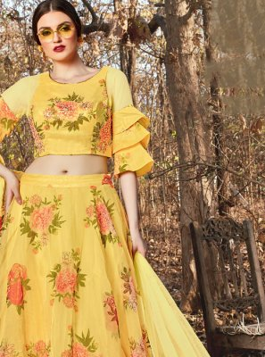 Yellow Printed Trendy A Line Lehenga Choli