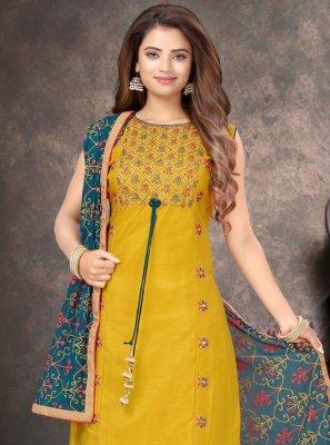 Yellow Raw Silk Trendy Salwar Suit