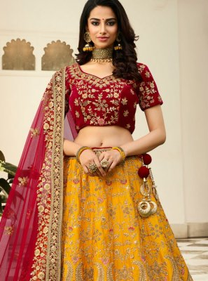 Yellow Reception Art Silk Lehenga Choli