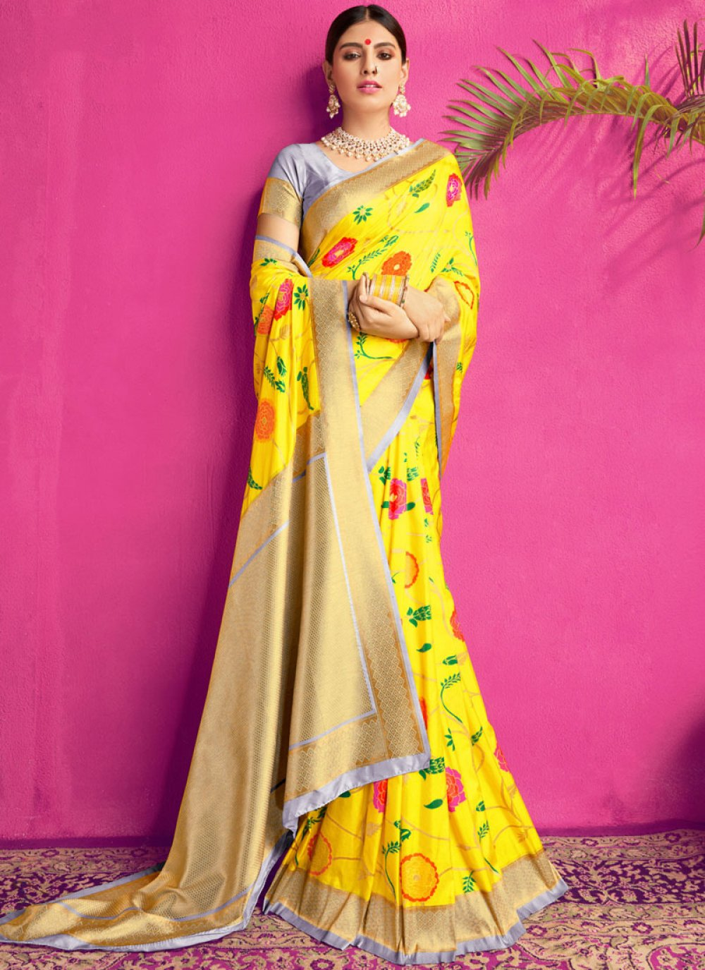 Yellow Reception Silk Saree