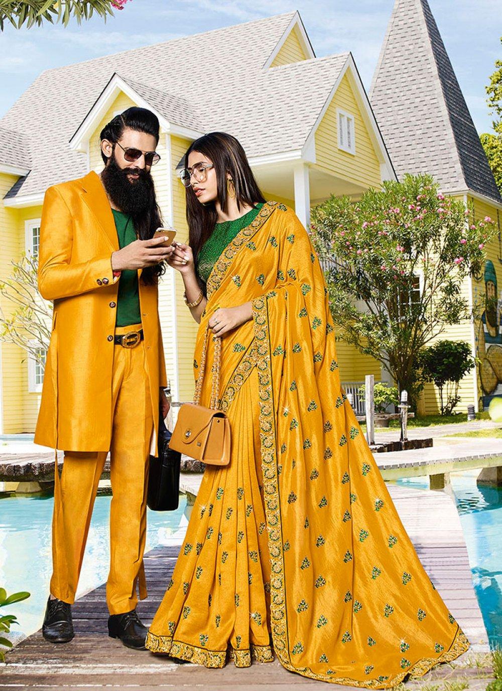 Yellow Reception Silk Saree