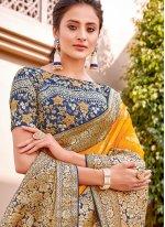 Yellow Reception Trendy Saree