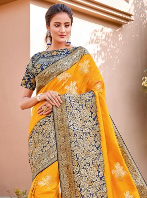 Yellow Reception Trendy Saree