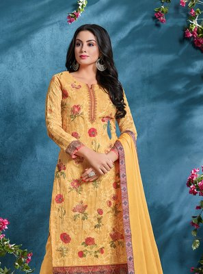 Yellow Resham Cotton Churidar Designer Suit