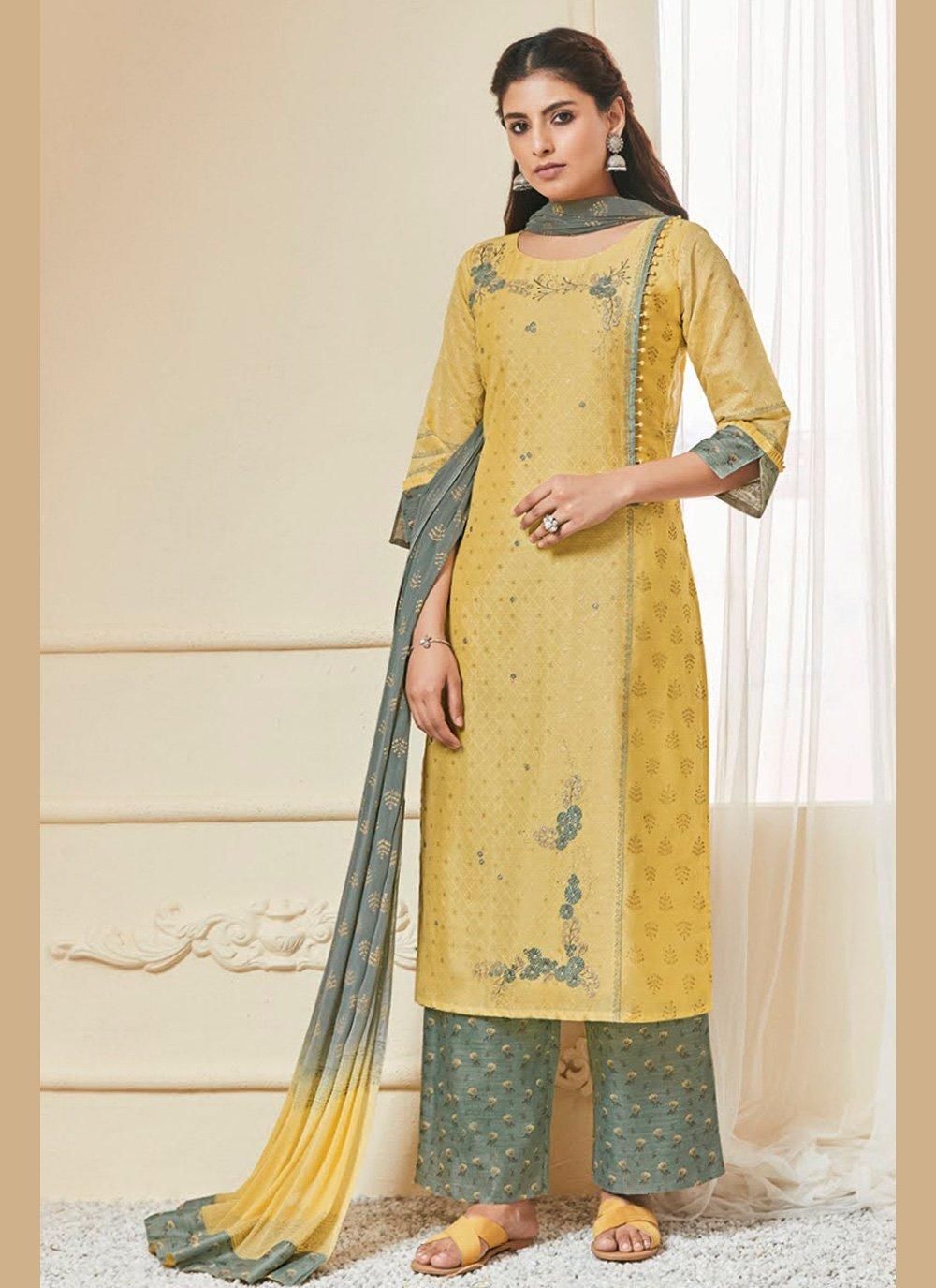 Yellow Resham Salwar Kameez